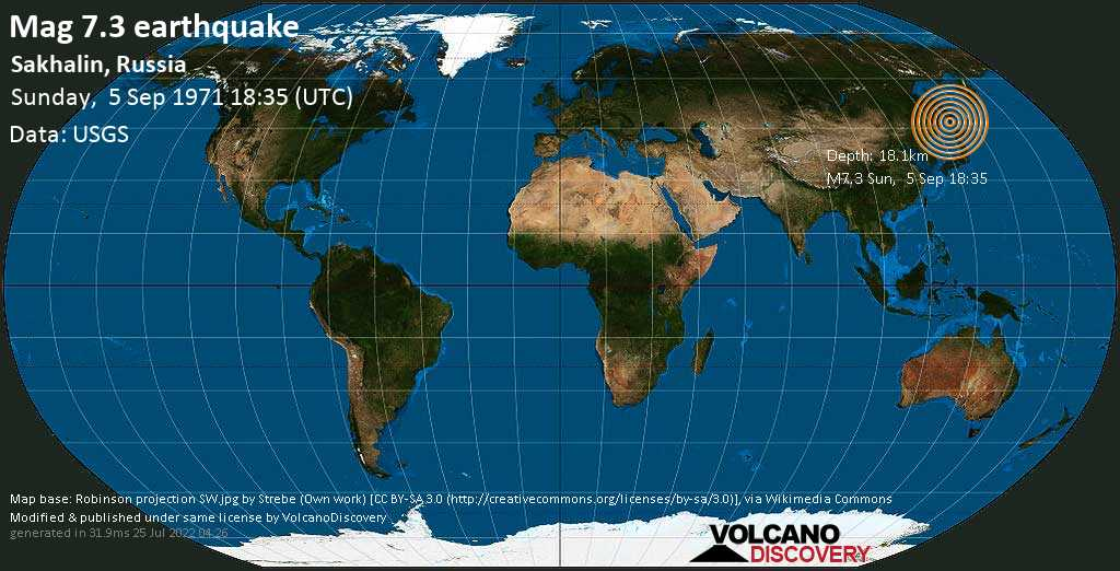 Major mag. 7.3 earthquake  - Sakhalin, Russia, on Sunday, 5 September 1971 at 18:35 (GMT)