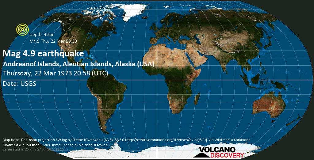 Moderate mag. 4.9 earthquake - Bering Sea, USA, on Thursday, 22 March 1973 at 20:58 (GMT)