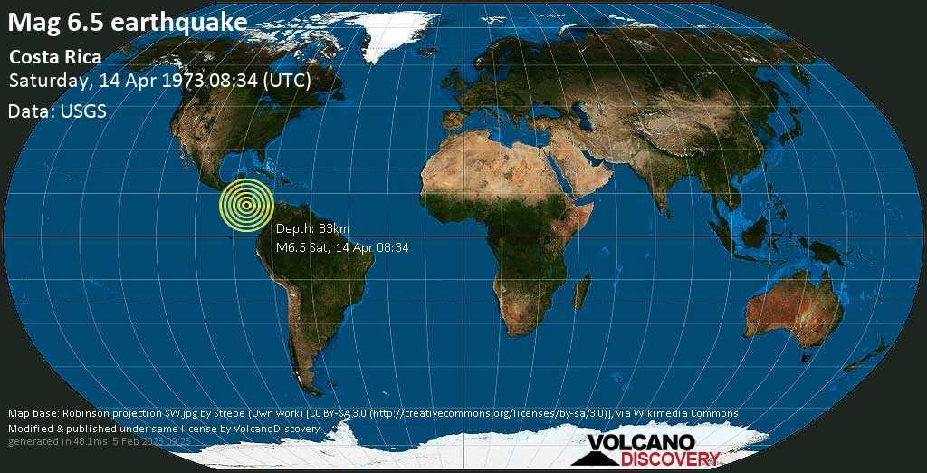 Very strong mag. 6.5 earthquake - Guatuso, Provincia de Alajuela, 74 km east of Liberia, Costa Rica, on Saturday, 14 April 1973 at 08:34 (GMT)