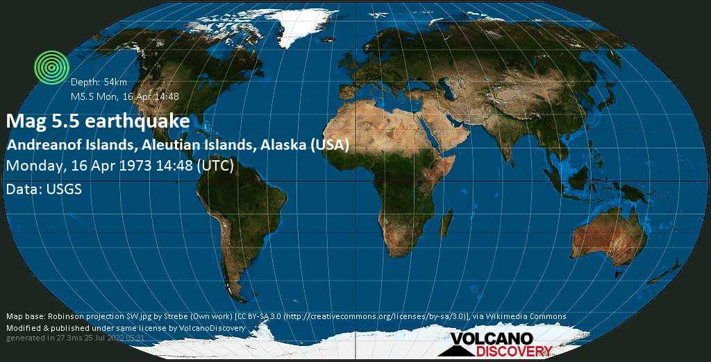 Moderate mag. 5.5 earthquake - Bering Sea, USA, on Monday, 16 April 1973 at 14:48 (GMT)