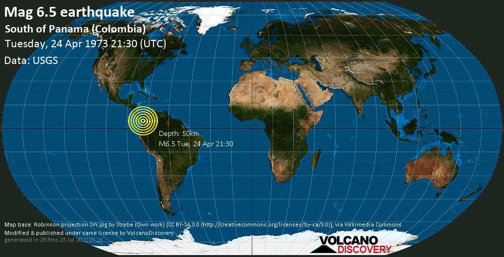 Strong mag. 6.5 earthquake - North Pacific Ocean, 94 km southwest of Isla Sivira Island, Colombia, on Tuesday, 24 April 1973 at 21:30 (GMT)