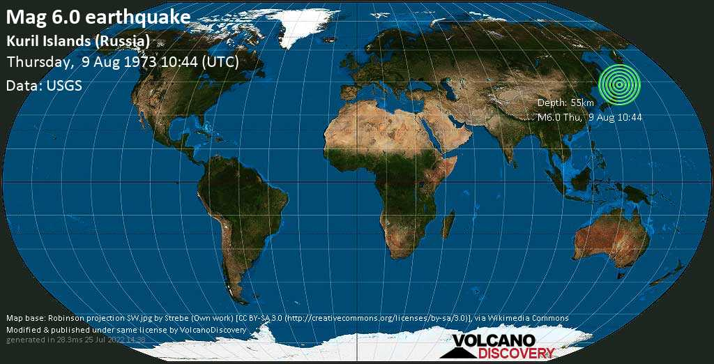 Strong mag. 6.0 earthquake - North Pacific Ocean, 46 km southwest of Shikotan Island, Yuzhno-Kurilsky District, Sakhalin Oblast, Russia, on Thursday, August 9, 1973 at 10:44 (GMT)