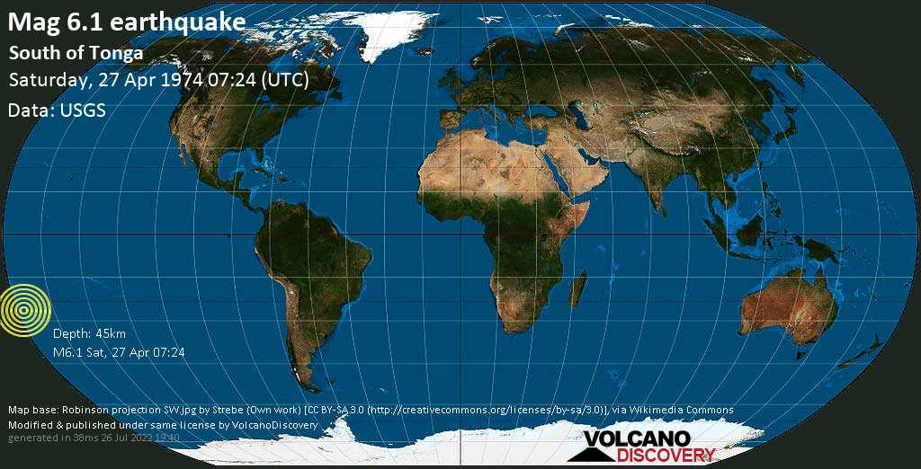Strong mag. 6.1 earthquake  - South of Tonga on Saturday, 27 April 1974 at 07:24 (GMT)