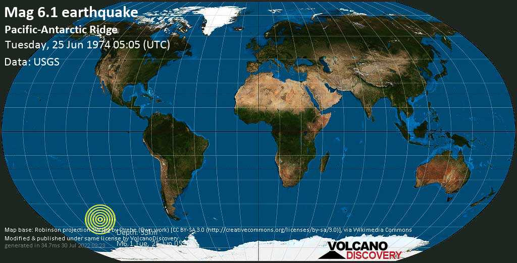 Strong mag. 6.1 earthquake  - Pacific-Antarctic Ridge on Tuesday, 25 June 1974