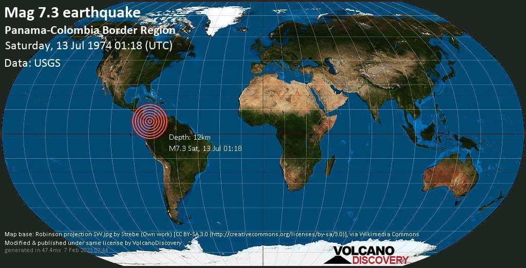 Major mag. 7.3 earthquake  - Panama-Colombia Border Region on Saturday, 13 July 1974