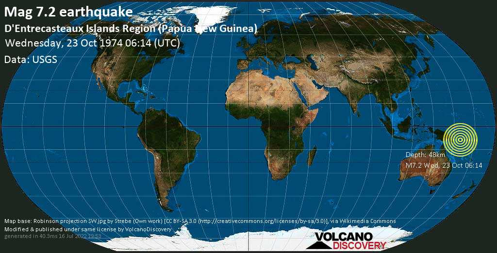 Major mag. 7.2 earthquake  - D\'Entrecasteaux Islands Region (Papua New Guinea) on Wednesday, 23 October 1974
