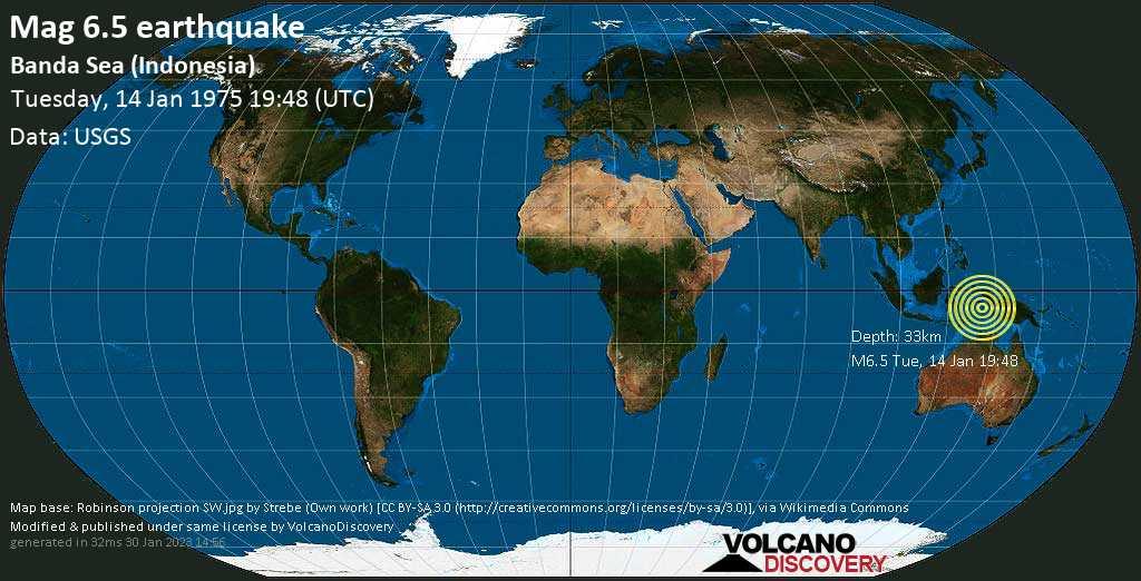 Strong mag. 6.5 earthquake  - Banda Sea (Indonesia) on Tuesday, 14 January 1975 at 19:48 (GMT)
