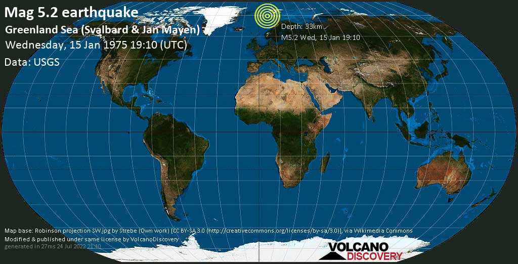 Moderate mag. 5.2 earthquake - Norwegian Sea, Svalbard & Jan Mayen, on Wednesday, 15 January 1975 at 19:10 (GMT)
