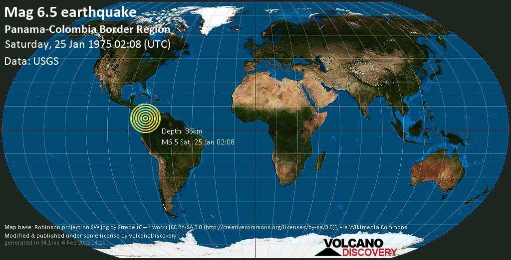 Very strong mag. 6.5 earthquake - Jurado, Departamento del Choco, 147 km southwest of Apartado, Colombia, on Saturday, 25 January 1975 at 02:08 (GMT)