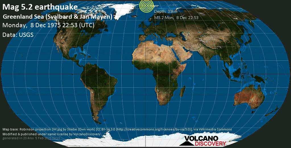 Moderate mag. 5.2 earthquake - Svalbard & Jan Mayen on Monday, December 8, 1975 at 22:53 (GMT)