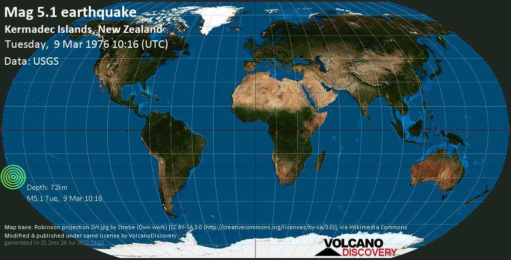 Moderate mag. 5.1 earthquake  - Kermadec Islands, New Zealand, on Tuesday, 9 March 1976 at 10:16 (GMT)