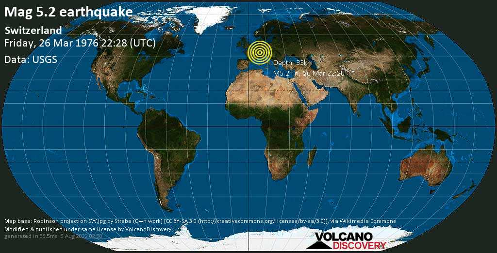 Moderate mag. 5.2 earthquake  - Switzerland on Friday, 26 March 1976
