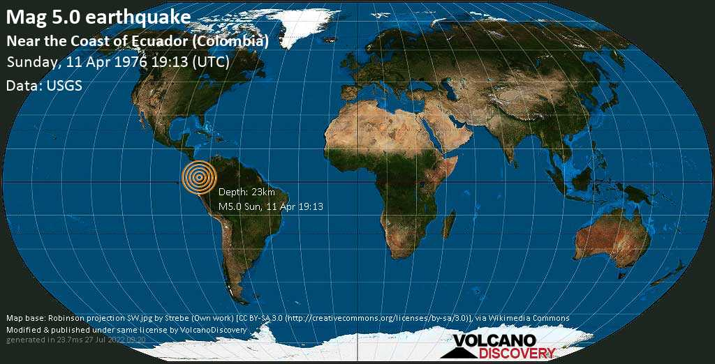 Moderate mag. 5.0 earthquake - North Pacific Ocean, 97 km west of Tumaco, Narino, Colombia, on Sunday, 11 April 1976 at 19:13 (GMT)