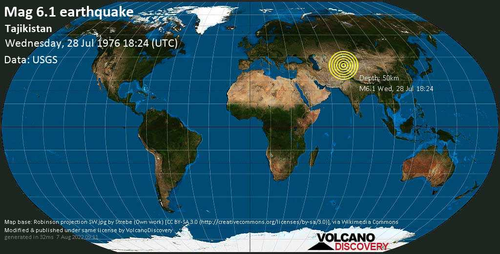 Strong mag. 6.1 earthquake  - Tajikistan on Wednesday, 28 July 1976 at 18:24 (GMT)