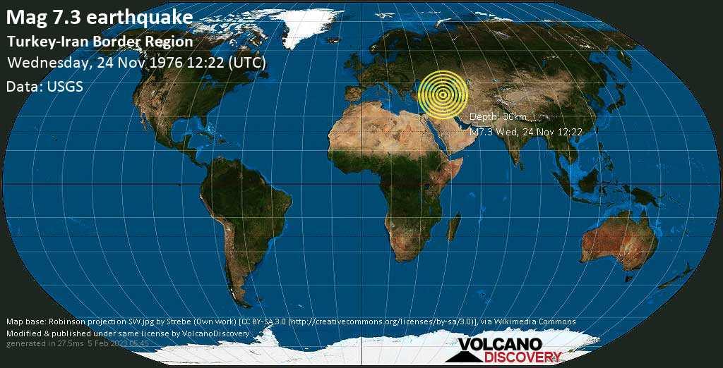 Major magnitude. 7.3 earthquake  - Turkey-Iran Border Region on Wednesday, 24 November 1976 at 12:22 (GMT)