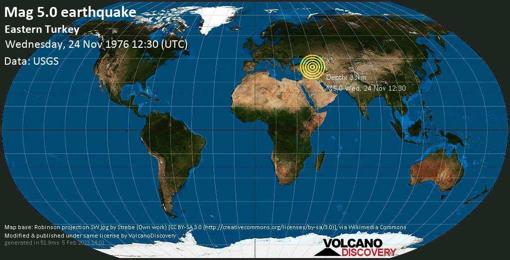 Moderate mag. 5.0 earthquake - 50 km east of Erciş, Van, Turkey, on Wednesday, November 24, 1976 at 12:30 (GMT)