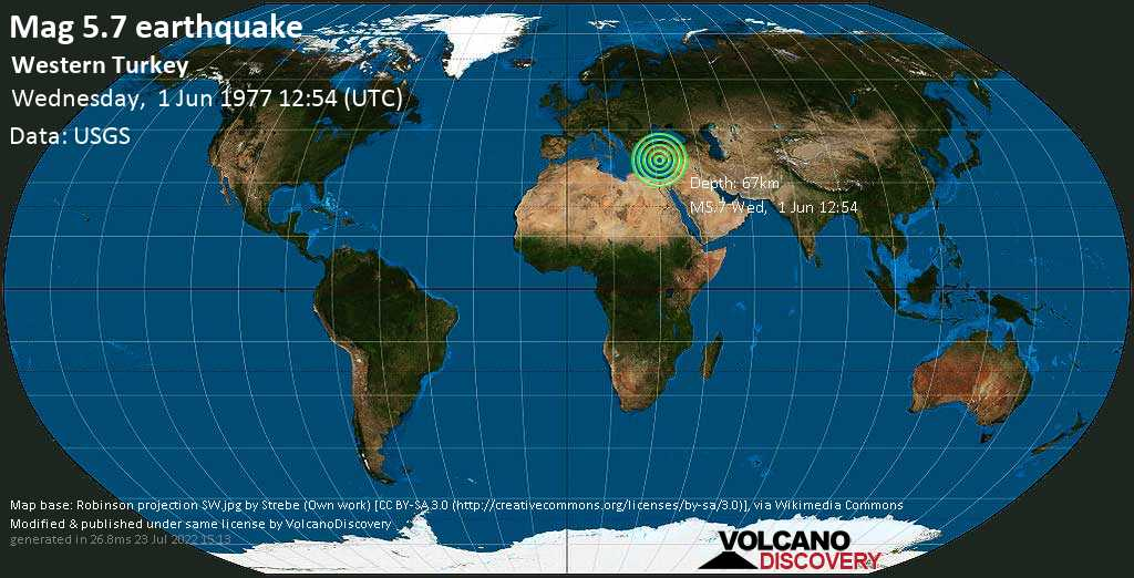Moderate mag. 5.7 earthquake - Eastern Mediterranean, 61 km south of Manavgat, Antalya, Turkey, on Wednesday, June 1, 1977 at 12:54 (GMT)