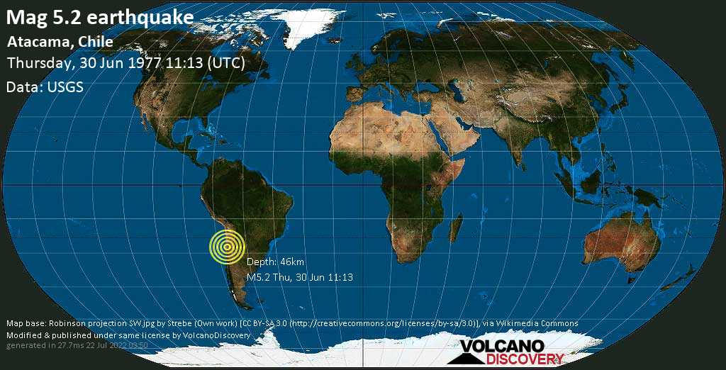 Moderate mag. 5.2 earthquake  - Atacama, Chile, on Thursday, 30 June 1977 at 11:13 (GMT)