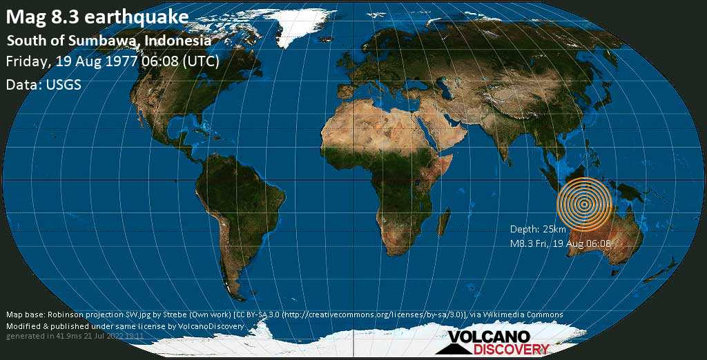 Great mag. 8.3 earthquake  - South of Sumbawa, Indonesia on Friday, 19 August 1977