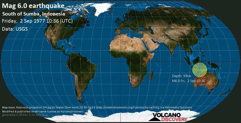 Strong mag. 6.0 earthquake  - South of Sumba, Indonesia on Friday, 2 September 1977