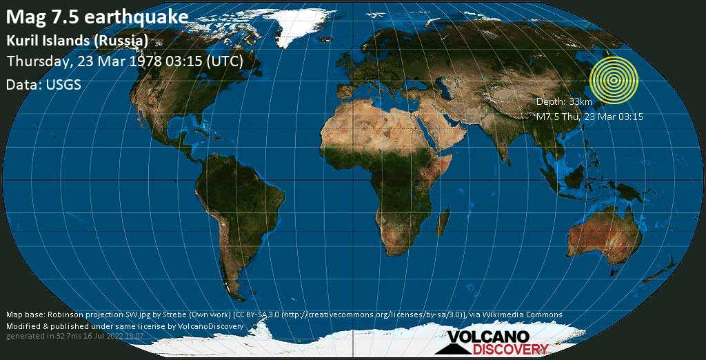 Major magnitude 7.5 earthquake - North Pacific Ocean, 55 km southeast of Kuril\'sk, Sakhalin Oblast, Russia, on Thursday, March 23, 1978 at 03:15 (GMT)