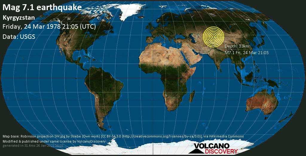 Major magnitude. 7.1 earthquake  - Kyrgyzstan on Friday, 24 March 1978 at 21:05 (GMT)