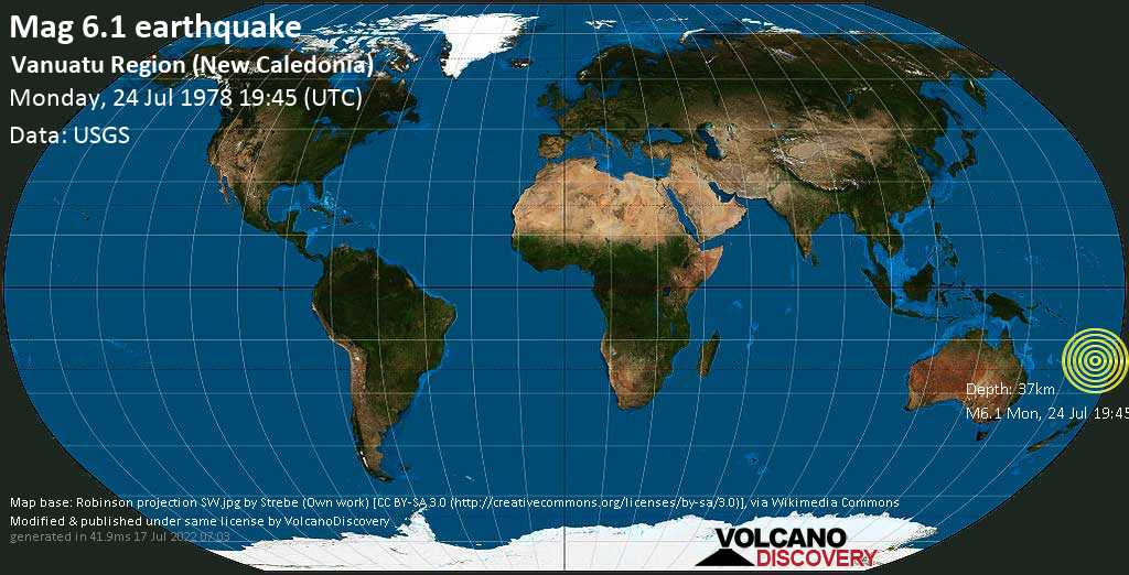 Strong mag. 6.1 earthquake  - Vanuatu Region (New Caledonia) on Monday, 24 July 1978