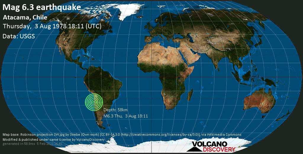 Strong mag. 6.3 earthquake  - Atacama, Chile on Thursday, 3 August 1978