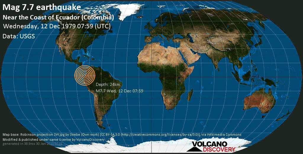 Major mag. 7.7 earthquake  - Near the Coast of Ecuador (Colombia) on Wednesday, 12 December 1979