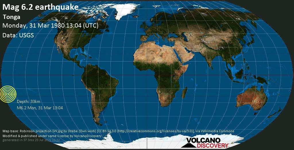 Strong mag. 6.2 earthquake  - Tonga on Monday, 31 March 1980 at 13:04 (GMT)