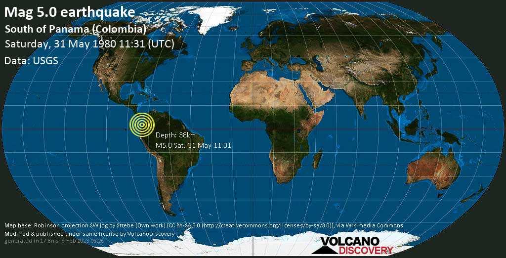 Moderate mag. 5.0 earthquake - North Pacific Ocean, 94 km north of Tumaco, Narino, Colombia, on Saturday, 31 May 1980 at 11:31 (GMT)