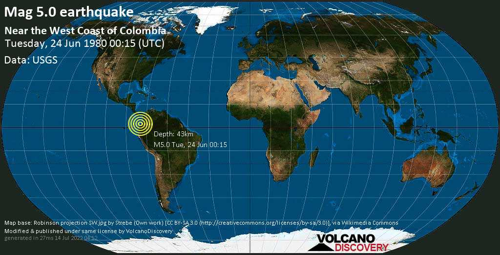 Moderate mag. 5.0 earthquake - North Pacific Ocean, 76 km north of Tumaco, Narino, Colombia, on Tuesday, 24 June 1980 at 00:15 (GMT)
