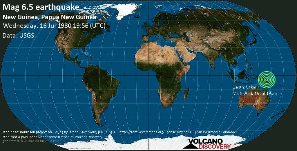 Strong mag. 6.5 earthquake - 102 km south of Wewak, East Sepik Province, Papua New Guinea, on Wednesday, 16 July 1980 at 19:56 (GMT)