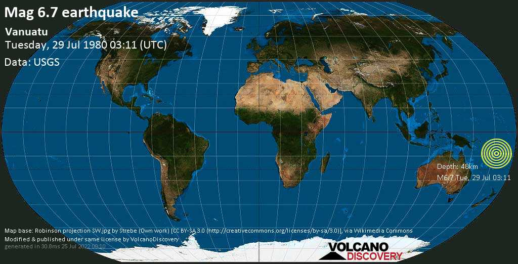 Strong mag. 6.7 earthquake  - Vanuatu on Tuesday, 29 July 1980 at 03:11 (GMT)