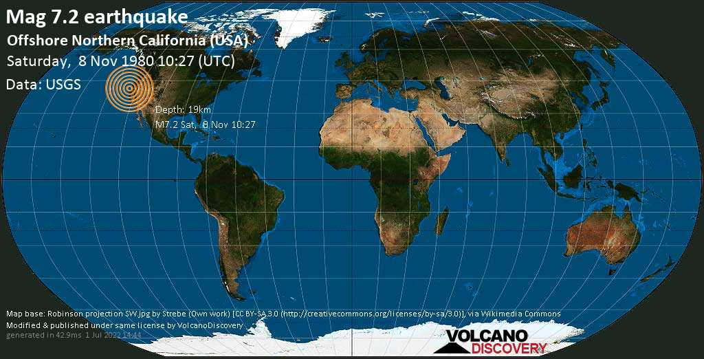 Major mag. 7.2 earthquake  - Offshore Northern California (USA) on Saturday, 8 November 1980