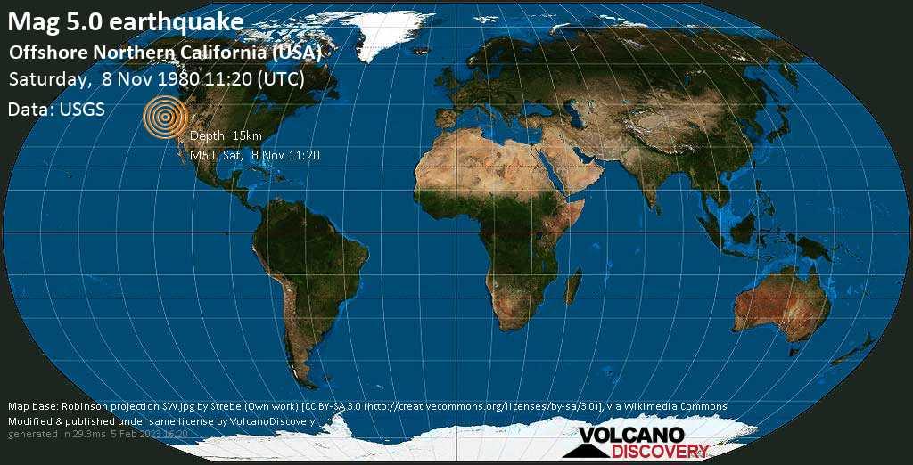 Moderate mag. 5.0 earthquake  - Offshore Northern California (USA) on Saturday, 8 November 1980 at 11:20 (GMT)