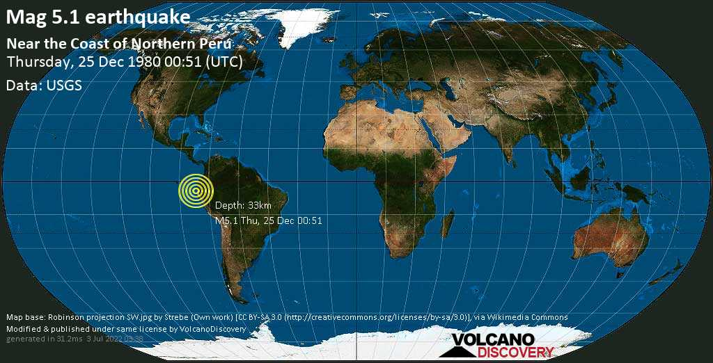 Moderate mag. 5.1 earthquake - South Pacific Ocean, 53 km north of Talara, Piura, Peru, on Thursday, 25 December 1980 at 00:51 (GMT)