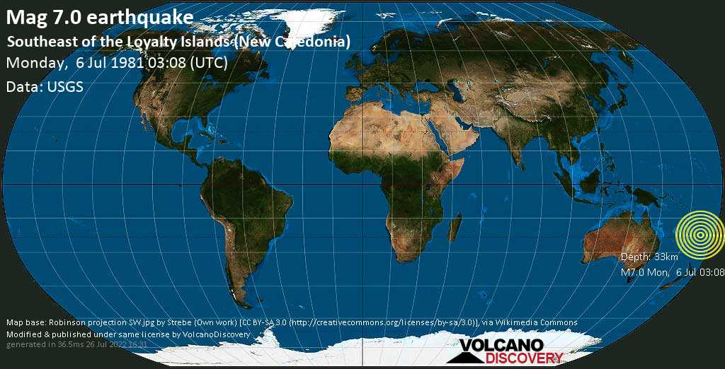 Major mag. 7.0 earthquake  - Southeast of the Loyalty Islands (New Caledonia) on Monday, 6 July 1981