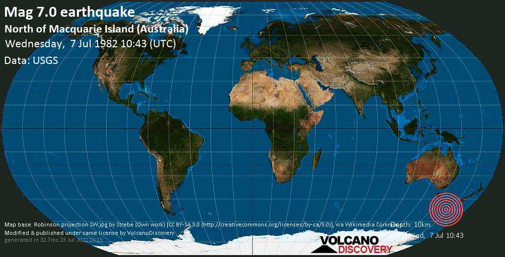 Major magnitude. 7.0 earthquake  - North of Macquarie Island (Australia) on Wednesday, 7 July 1982 at 10:43 (GMT)