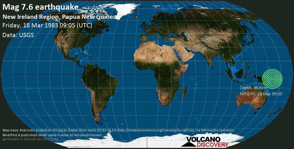 Major mag. 7.6 earthquake  - New Ireland Region, Papua New Guinea on Friday, 18 March 1983