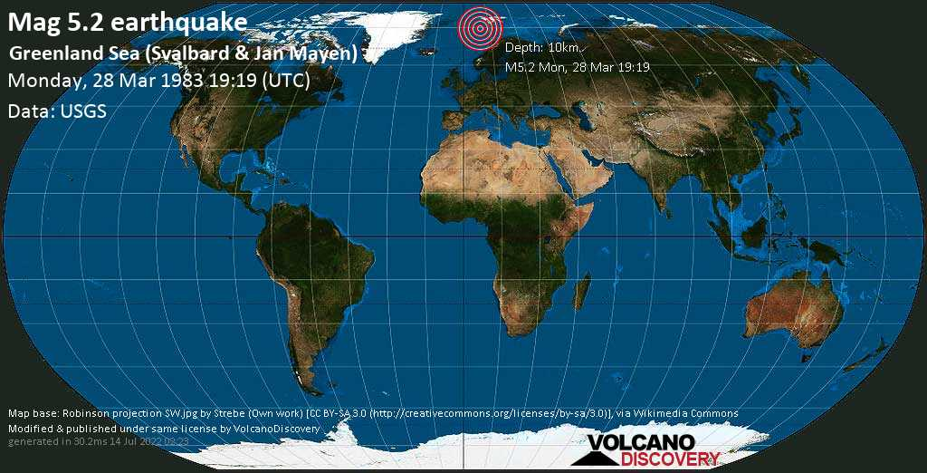 Strong mag. 5.2 earthquake - Norwegian Sea, Svalbard & Jan Mayen, on Monday, 28 March 1983 at 19:19 (GMT)