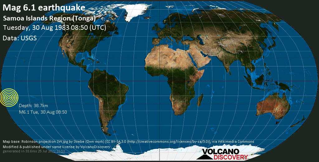 Strong mag. 6.1 earthquake  - Samoa Islands Region (Tonga) on Tuesday, 30 August 1983 at 08:50 (GMT)