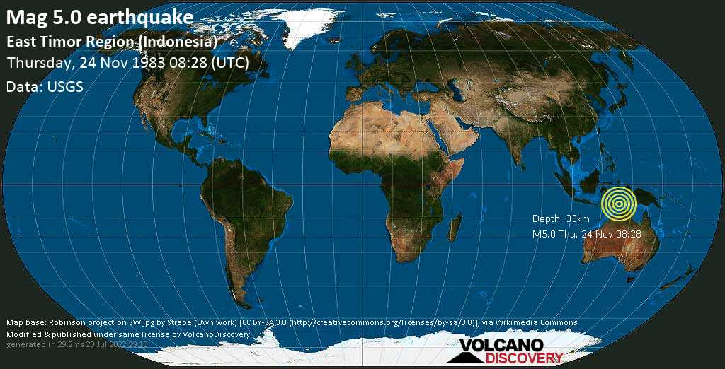Moderate mag. 5.0 earthquake  - East Timor Region (Indonesia) on Thursday, 24 November 1983 at 08:28 (GMT)