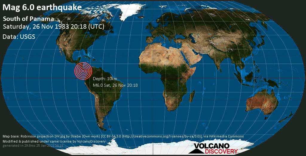 Very strong mag. 6.0 earthquake - North Pacific Ocean, 120 km south of David, Provincia de Chiriqui, Panama, on Saturday, November 26, 1983 at 20:18 (GMT)