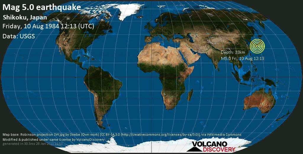 Moderate mag. 5.0 earthquake - Philippines Sea, 58 km east of Nobeoka, Miyazaki, Japan, on Friday, 10 August 1984 at 12:13 (GMT)