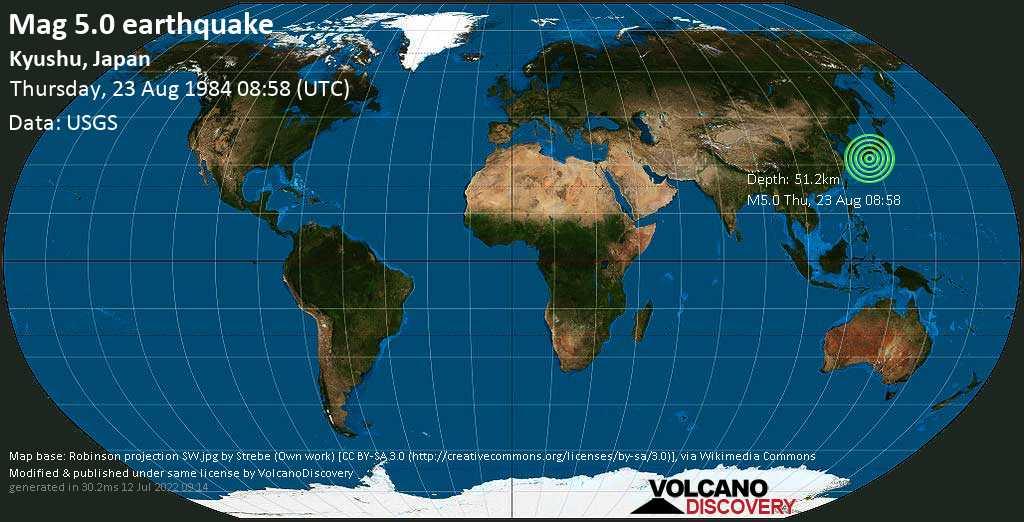 Moderate mag. 5.0 earthquake - Philippines Sea, 26 km east of Miyazaki, Japan, on Thursday, 23 August 1984 at 08:58 (GMT)