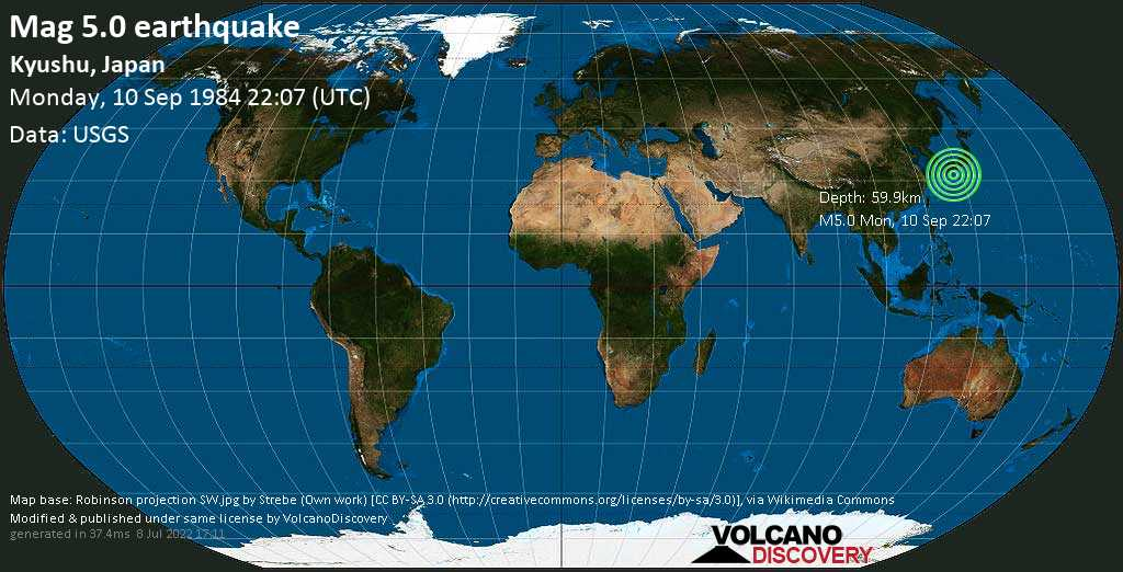 Moderate mag. 5.0 earthquake - Philippines Sea, 26 km east of Nichinan, Miyazaki, Japan, on Monday, 10 September 1984 at 22:07 (GMT)