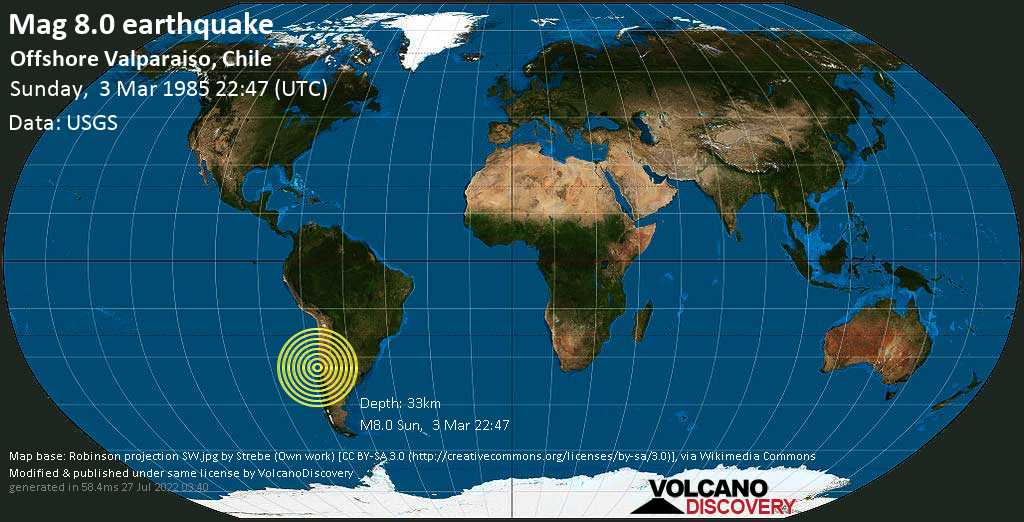 Great mag. 8.0 earthquake  - Offshore Valparaiso, Chile on Sunday, 3 March 1985
