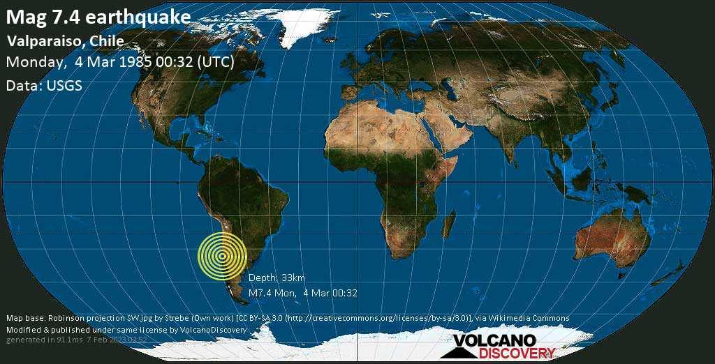Major magnitude 7.4 earthquake - Provincia de Valparaiso, 27 km southwest of Quilpue, Provincia de Marga Marga, Region de Valparaiso, Chile, on Monday, March 4, 1985 at 00:32 (GMT)