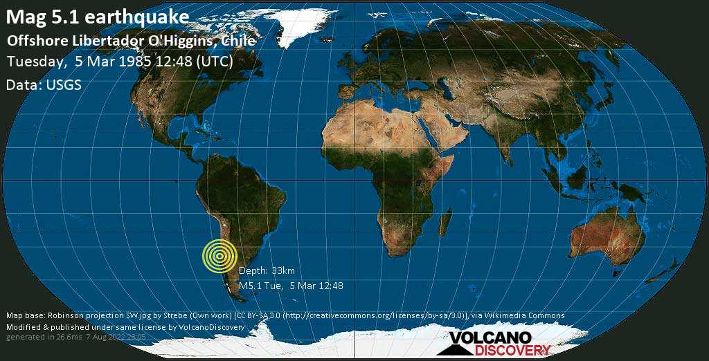 Moderate mag. 5.1 earthquake - South Pacific Ocean, 63 km southwest of San Antonio, Valparaiso, Chile, on Tuesday, 5 March 1985 at 12:48 (GMT)